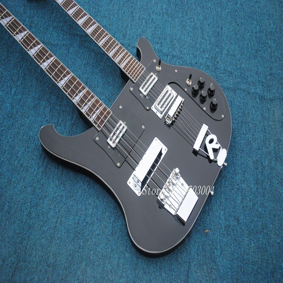 Offre spéciale Top qualité nouveauté RICK Double cou 4 cordes basse + 6 cordes guitare électrique noire livraison gratuite