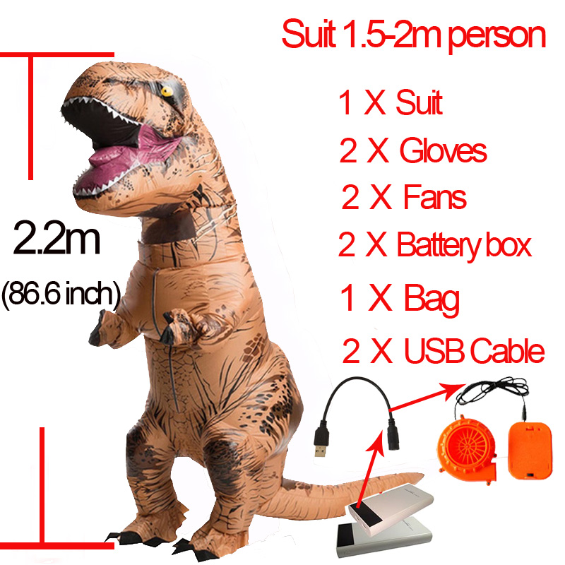 Adult Kids Dinosaur t rex Costume Cosplay Fantasy Inflatable Dinosaur T REX Blowup t-rex Mascot Halloween Costume For Women Men(China)