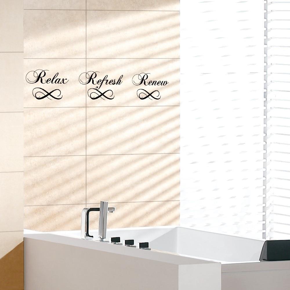 Bathroom wall art sayings - Bathroom Wall Sticker Relax Refresh Renew Bath Vinyl Sayings Wall Art Quote Sticker Home