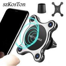 Universel 360 degrés Qi voiture chargeur sans fil pour iPhone X XS MAX support de téléphone magnétique pour voiture rapide sans fil chargeur évent montage