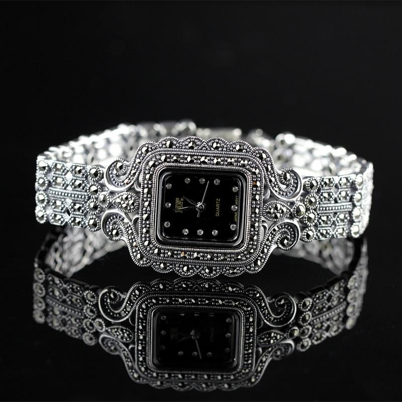 New Fashion Classic Elegant S925 Silver Pure Thai Silver Flower Bracelet Watches Thailand Process Rhinestone Bangle Dresswatch