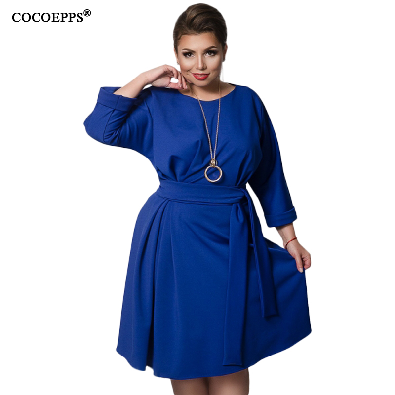 COCOEPPS 2018 Autumn Winter Women Dresses 5XL 6XL Casual Long Sleeve Female Dress Plus Size Women Clothing evening Blue vestidos