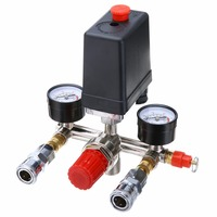 90 120PSI Air Compressor Pressure Control Valve Switch Assembly Manifold Regulator Gauges With Red ON/OFF Switch Knob Control