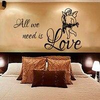 Słodkie I Romantycznej Sypialni Dekorowanie Wszystkie Musimy To Miłość Anioł Naklejki Ścienne PCV Projekt Dla Zagłówkiem