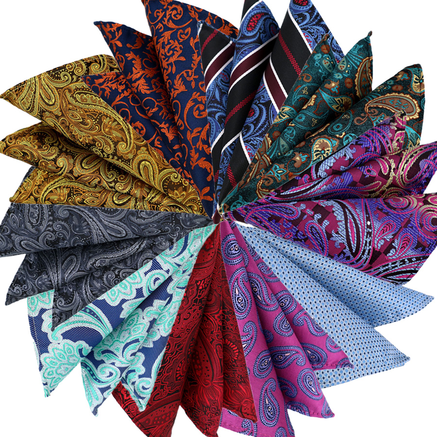 High Quality Mens Pocket Square 25CM Handkerchief Floral Paisley Hanky Men Suit Chest Towel Accessories For Business Party Gift