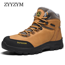 ZYYZYM Men Boots Winter 2019 with Fur Plush Warm Snow Outdoors Footwear Fashion Shoes