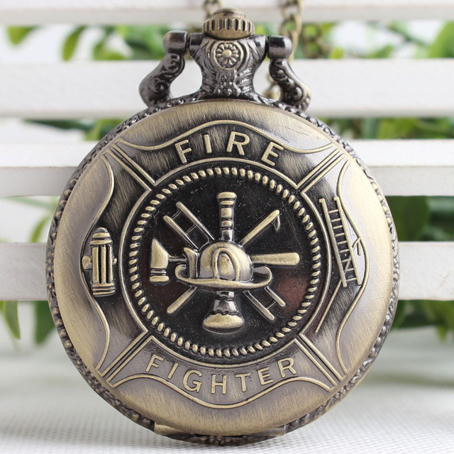 Bronze Pocket Watch Fire Fighter Symbol Carving Pendant Necklace Meaningful Men