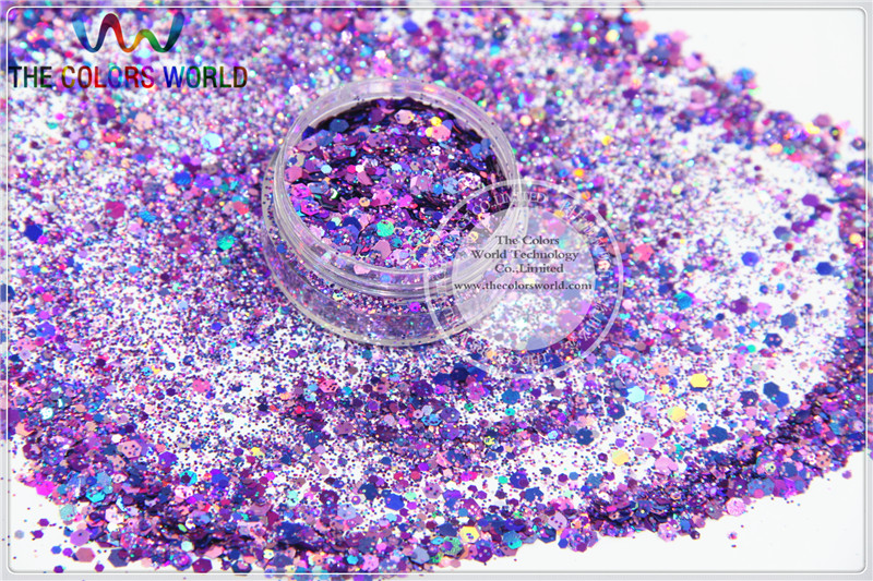 A87951-137 Mix holographic laser Colors hexagon shapes Glitter for nail art and DIY decoration 1Pack =50g