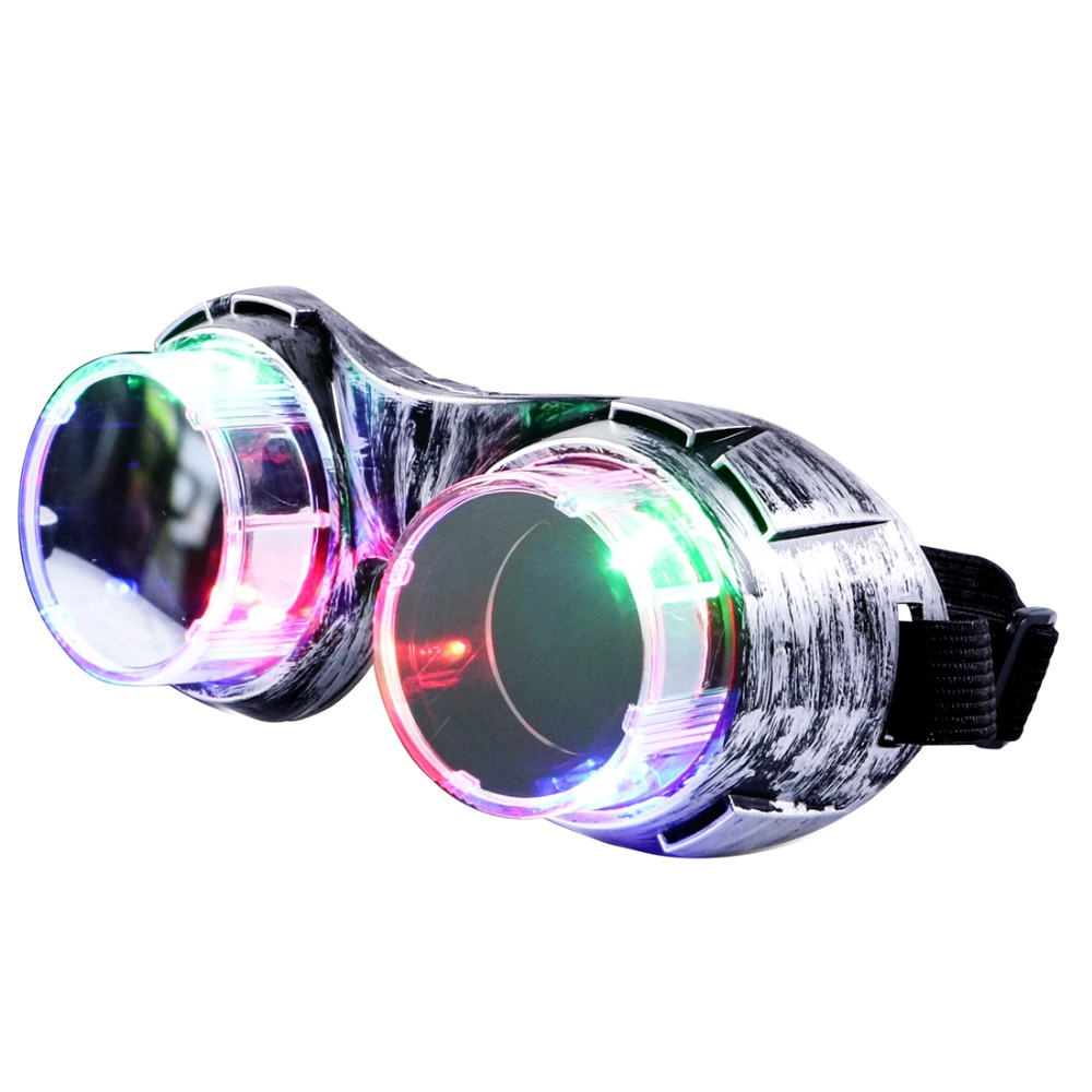 Silver LED Party glasses flashing light up fun glasses for April Fools' Day or Easter gift present Halloween rave party toy