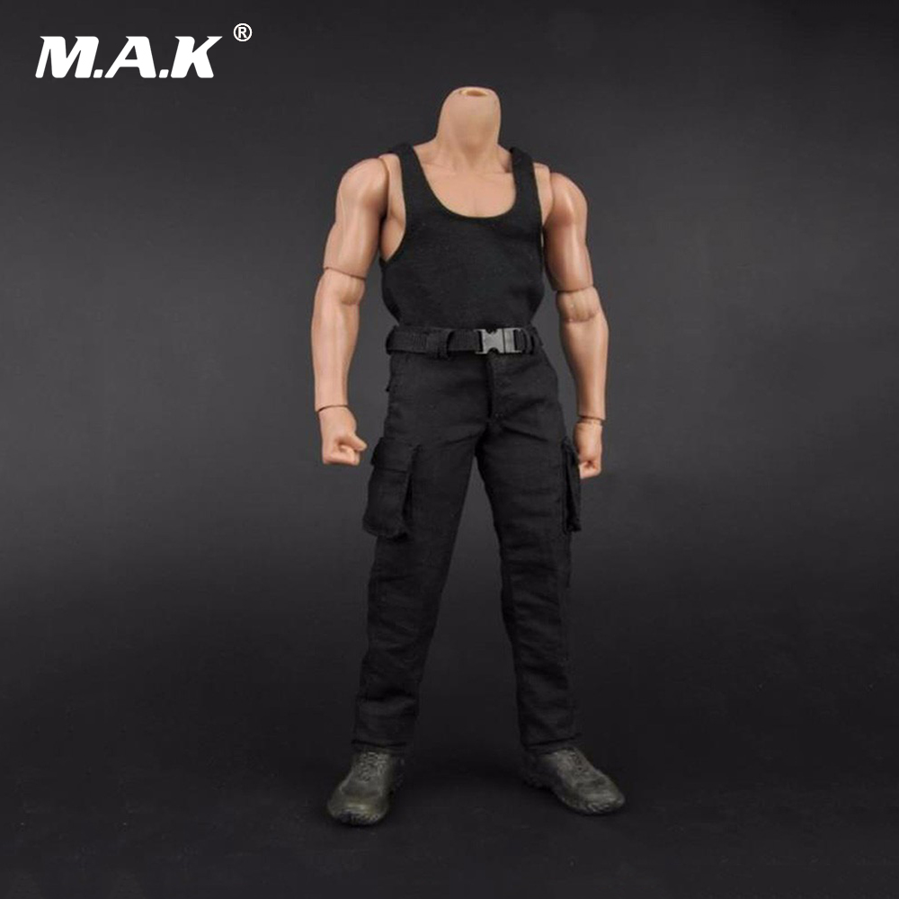 Male Black Vest & Long Pants 1/6 Scale Soldier Clothing Model Toys For 12 Man Action Figure Model   Accessory 1 6 scale nude male body figure muscle man soldier model toys for 12 action figure doll accessories