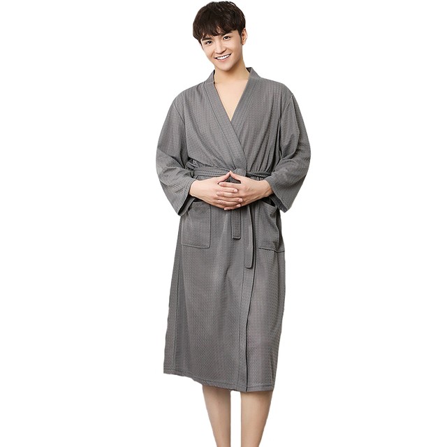 5c0d4acb14 Men Summer Robe Chinese Cotton Nightwear Solid Sleepwear Male Nightgown Spa Home  Dress Kimono Bathrobe Gown