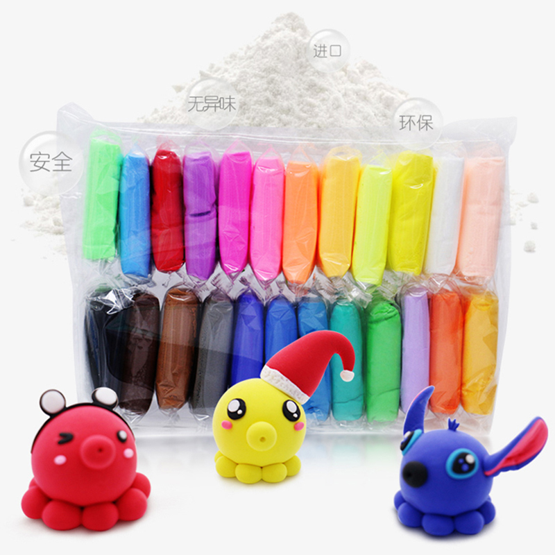 24 Colors Light Clay Air Dry Polymer Plasticine Modelling Clay Super Light DIY Soft Creative Handgum Educational Clay Toys