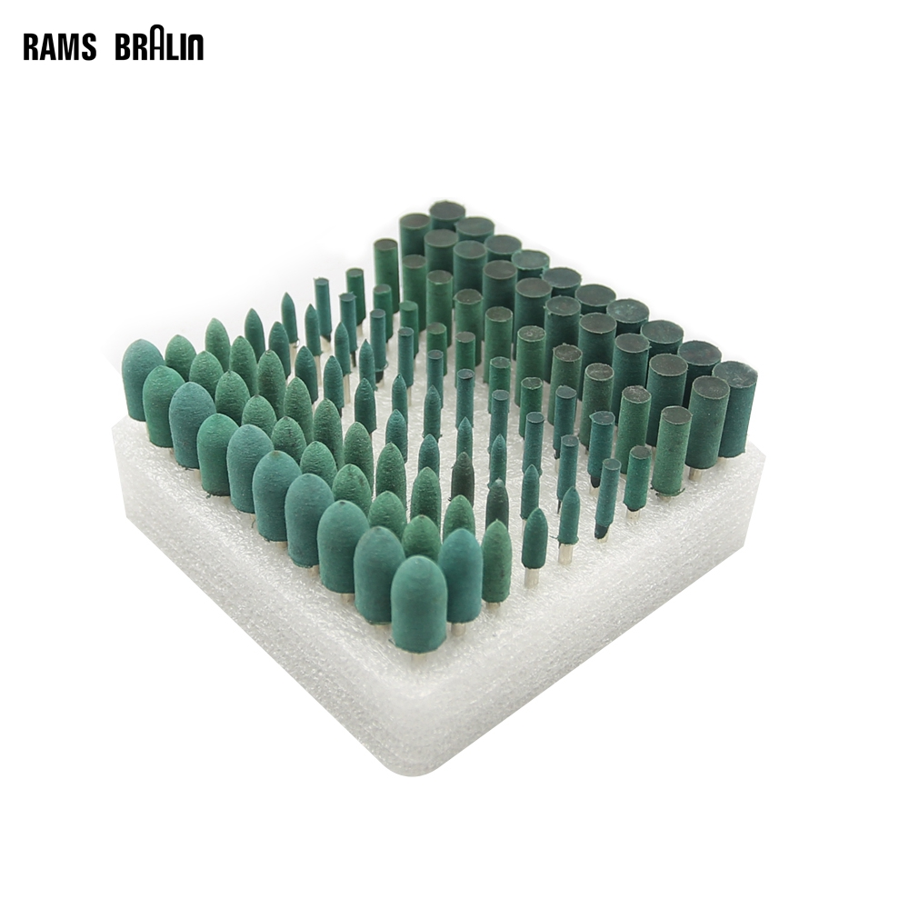 100 Pieces Rubber Mounted Point OD10-4mm Grinding Head For Mould Finish Polish Dremel Die Grinder Rotary Tools