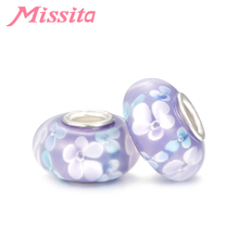 MISSITA Daisy Flower Beads fit Pandora Bracelets for Jewelry Making Velcro Pattern Murano Glass Beads  DIY Jewelry Accessories цена