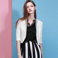 New Women Lace Short Jacket Fashion Short Casual Slim Thin Half Sleeve Lace Jackets 2018 Summer Ma5023