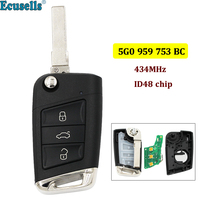 3 buttons Flip Remote Key Fob 434MHz with ID48 Chip for VW Volkswagen Skoda Octavia A7 MQB Golf VII Golf7 Golf MK7 2017