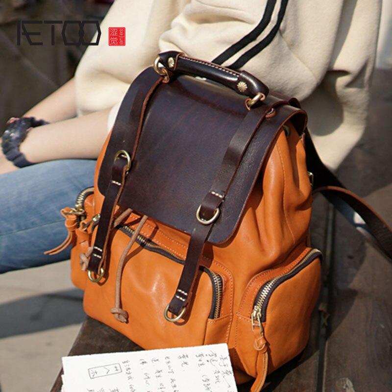 AETOO Epoca fatti a mano di lavaggio in pelle di colore delle signore della pelle bovina femminile borsa del computer borsa zaino casuale
