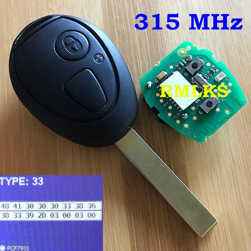 2 Button Remote Key Fob 315Mhz 433MHZ ID73 Chip With Code For BMW For Mini Cooper