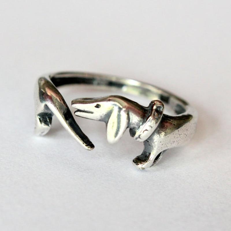 Atacado 10 pcs de prata antigo anel Handmade retro anel animal cão Dachshunds memorial