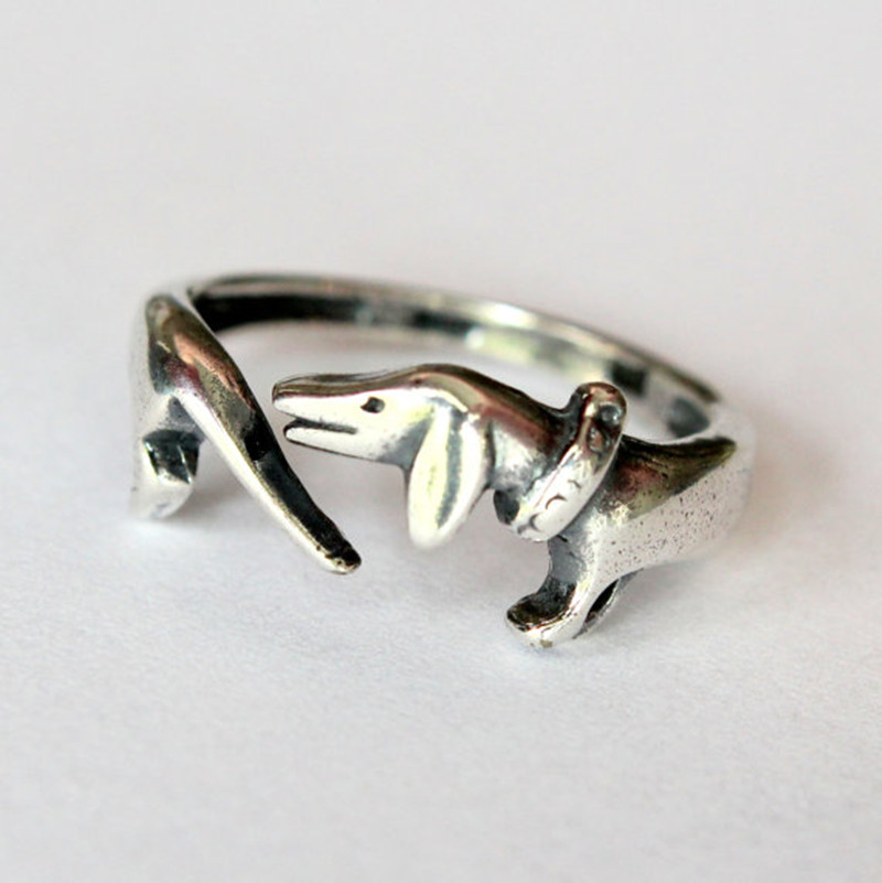 wholesale 10pcs ancient silver Dachshunds ring Handmade retro animal ring dog memorial