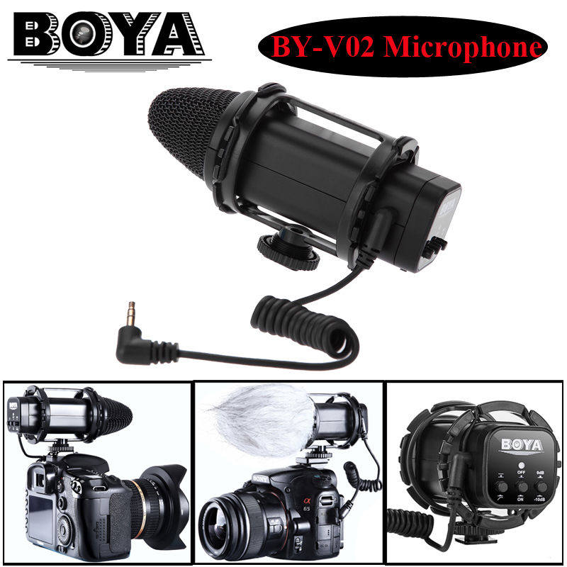 BOYA BY-V02 External Stereo X/Y Mini Condenser professional camera interview Microphone for DSLR Condenser Mic with Windshield boya by wm5 by wm6 camera wireless lavalier microphone recorder system for canon 6d 600d 5d2 5d3 nikon d800 sony dv camcorder