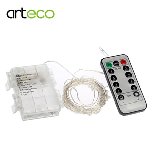 Waterproof Battery LED String 5M 50Led Sliver Wire LED String Fairy Light Remote Control Holiday Lighting Decoration