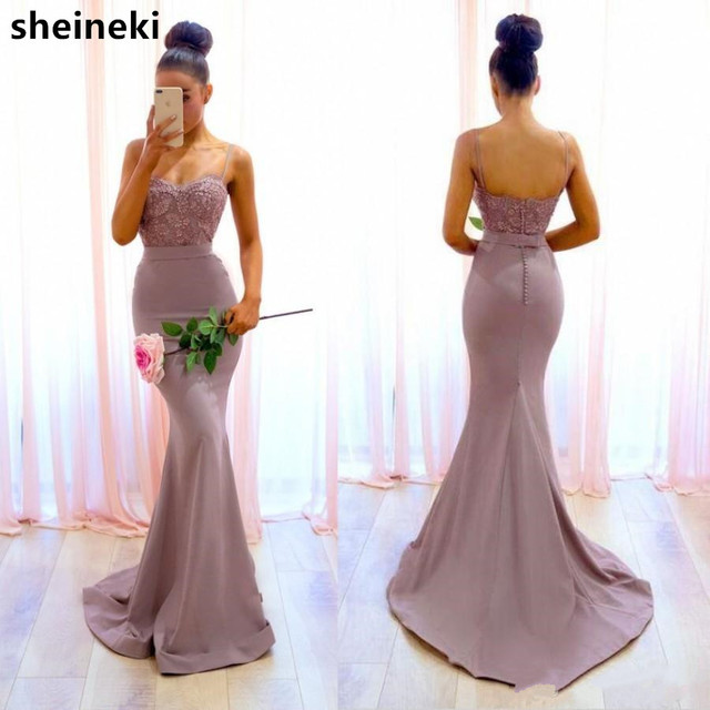 5cb29de4df US $69.0 35% OFF|2019 Spaghetti Straps Backless Mermaid Bridesmaid Dresses  Appliques Maid of Honor Gowns Wedding Reception Baby Shower Gowns-in ...