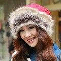 1 Unids 2016 Invierno Caliente de Diseño de La Bufanda Del Sombrero de Dos Uso Con Mongolia Princesa Sombrero Caliente grueso de Las Mujeres Hizo Punto el Casquillo 6 Colores Envío gratis