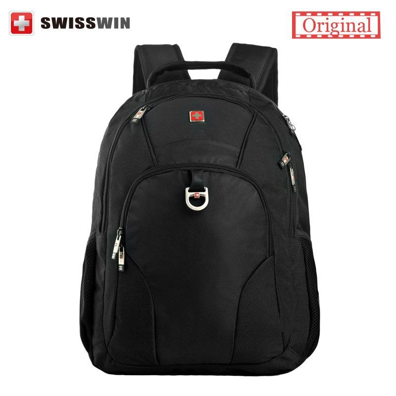 Swisswin Laptop Backpack Male Swissgear Computer Backpack Bag Women Black Waterproof School Backpack For Boys Bagpack Men swisswin black business backpack sw9218 male swiss 15 6 computer swissgear wenger bag 23l mochila