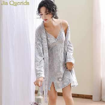 Luxury Female Floral Robe&Gown Sets Sexy V-neck Lace Trim Gowns + Kimono Bathrobe Elegant Homewear 100% Cotton Yukata Women Sexy - DISCOUNT ITEM  43 OFF Underwear & Sleepwears
