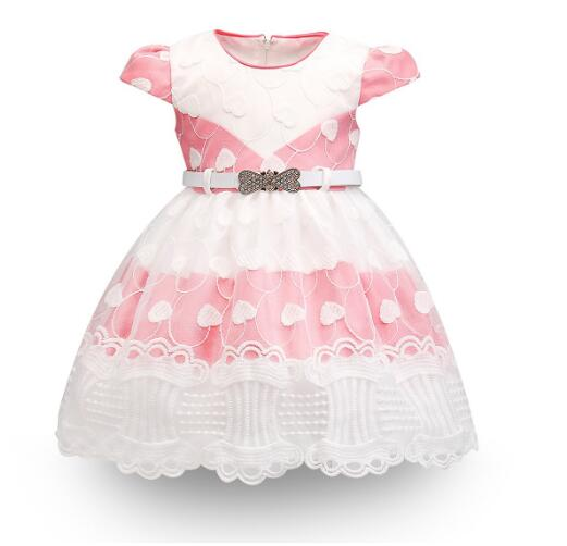 Baby Girls Formal Dresses 2018 Summer Baptism Bow Lace Infant Princess tutu Dress With Belt Kids Birthday Party Dresses White baby girls pageant formal dresses 2017 baptism bow lace cute infant girls princess tutu dress kids birthday party dresses pink