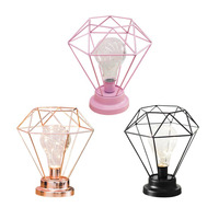 Fashion Diamond Shape Desk Lamp Battery Powered Bedroom Decoration Tablet Night Light With Switch Iron Art Photography Props