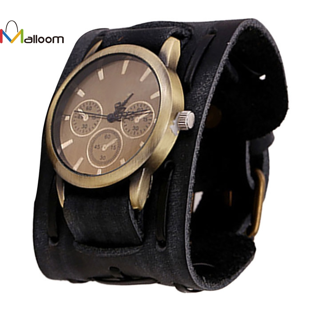 Hearty Antique Copper Relogio Masculino Retro Punk Rock Brown Big Wide Leather Bracelet Cuff Men Watch Cool Mens Watch Erkek Kol Saati Lover's Watches