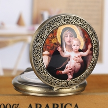 Pendant Chain Watch Necklace Virgin-Mary Gift Quartz Women And Jesus for Girls Lady Jewelry