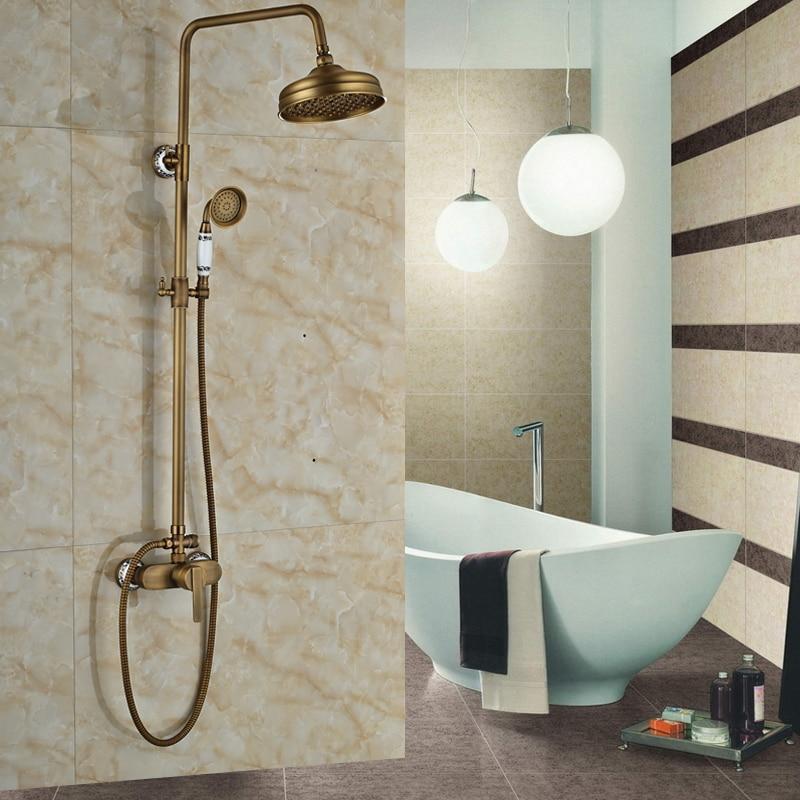 Hot Sale Bathroom Shower Faucet with 8 Rainfall Shower Head Antique Brass