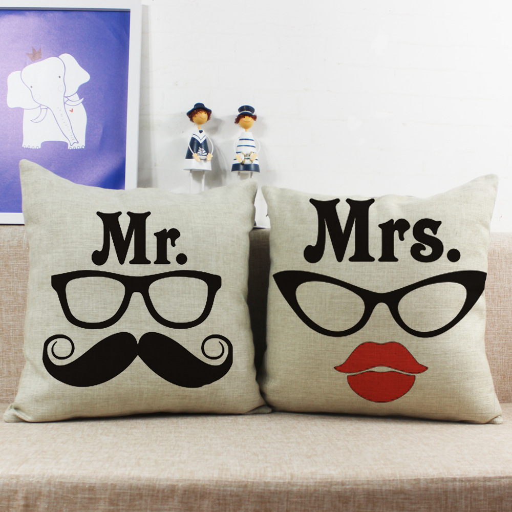 Beautiful Glasses Mr. & Mrs. Cushion Cover Home Decorative Linen Pillow Cover Printed Husband and Wife Couple Cushion Case PC269