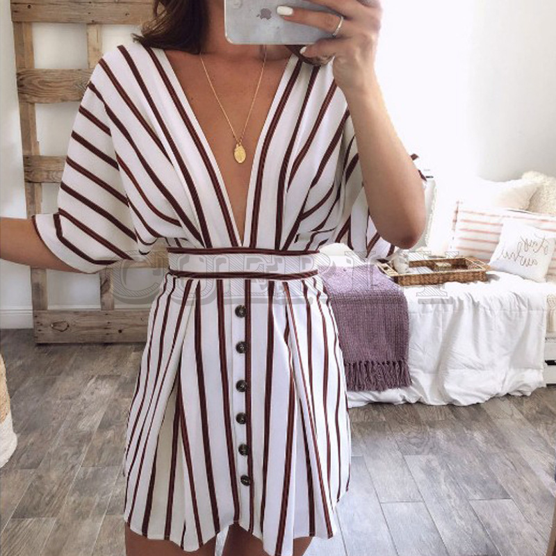 Cuerly 2019 Sexy Women Backless Deep V neck Bodycon Dress Casual short sleeve club Party Cocktail Mini Dress HOT