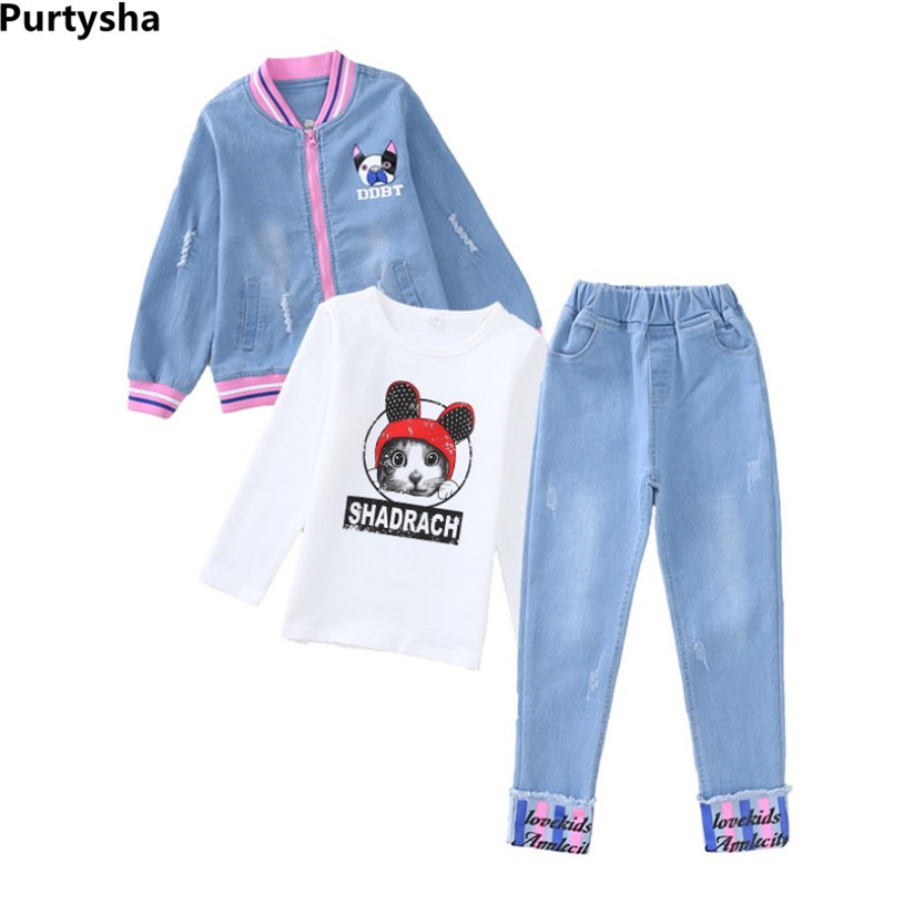 Girls Boutique Outfits Sets Fall 2018 Printed Cat Denim Jacket T-shirt Jeans Two Piece Suit Teenager Girls Clothes 4 8 10 Years baby girl summer clothes 2018 kids girls clothes set two pcs t shirt striped shirt 5 6 8 10 12 year girls boutique outfits