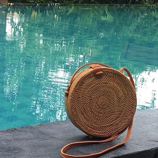 2018 Summer new rattan bag pure handmade Qiuteng basket exotic scenery rattan basket bag 4