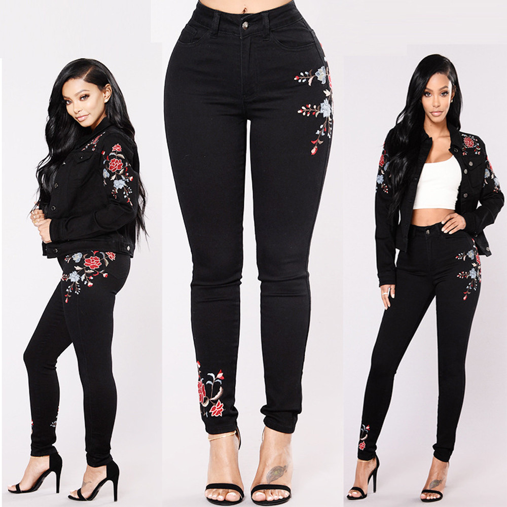 Women High Waist Floral Pencil   Jeans   Trousers Ladies Embroidered Denim Pants W0319