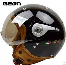 Free shipping BEON B-110A retro helmet motorcycle helmet half helmet male and female electric car helmet / light black gold