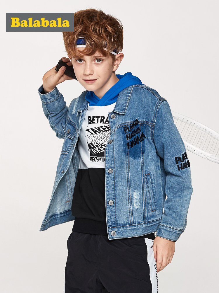 Balabala Boys Denim Jacket with Collar Fashion Jeans Jacket with Applique Children Teenager Boys Jacket Spring Autumn ClothesBalabala Boys Denim Jacket with Collar Fashion Jeans Jacket with Applique Children Teenager Boys Jacket Spring Autumn Clothes