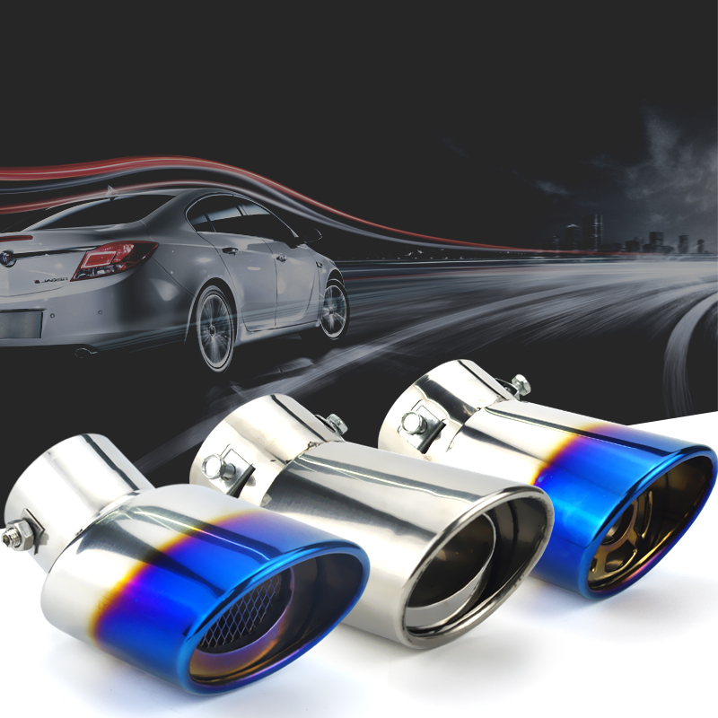 Universal Car Auto Round Exhaust Muffler Tip Stainless Steel Pipe Chrome Trim Modified Car Rear Tail Throat Exhause Liner stylish stainless steel car exhaust pipe muffler tip for benz 320 350 500
