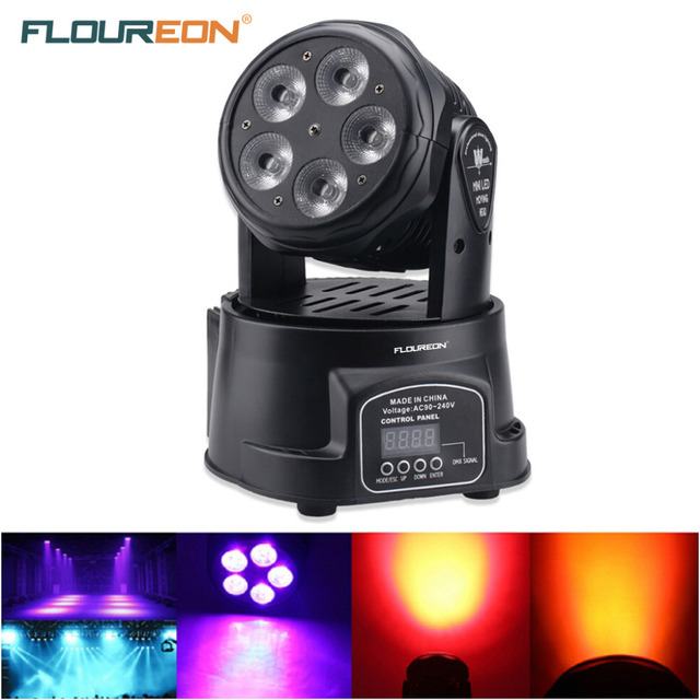 Floureon 75W LED Moving Head Light,15W*5pcs LED,10/15CH DMX512 Auto Rotating Stage Disco DJ Lighting for Indoor Party Club