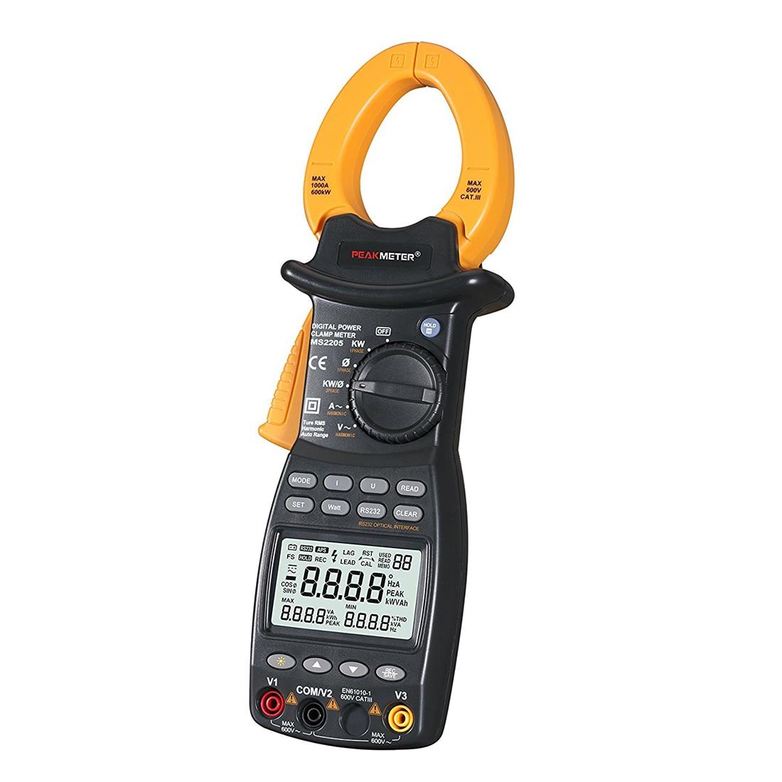 PEAKMETER MS2205 9999 Counts Auto Range Power-off AC Digital Power Clamp Meter Multimeter AC DC Voltage Current Active Apparen zipabox power current clamp 35a