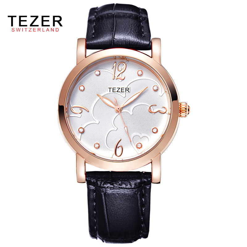TEZER Women Fashion Casual Leather Quartz Watches Reloj Mujer Brand Luxury Watch Women Dress Wristwatches Relogio Feminino C81 relojes mujer 2016 quartz watch women watches relogio feminino women s leather dress fashion brand skmei waterproof wristwatches