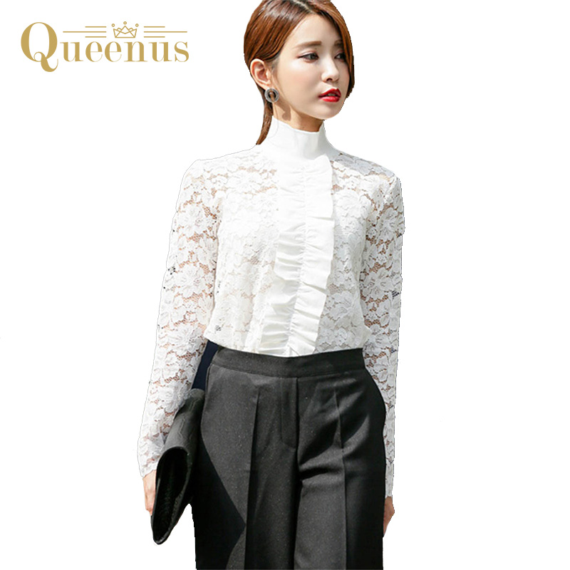 Queenus women top 2017 fashion white lace shirts business for Best business dress shirts
