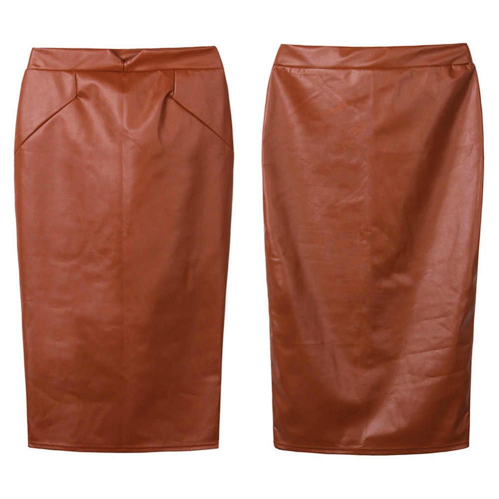 4c067956f73 ... Дамские туфли из pu искусственной кожи юбка Высокая Талия Юбки-карандаши  Для женщин s Винтаж ...