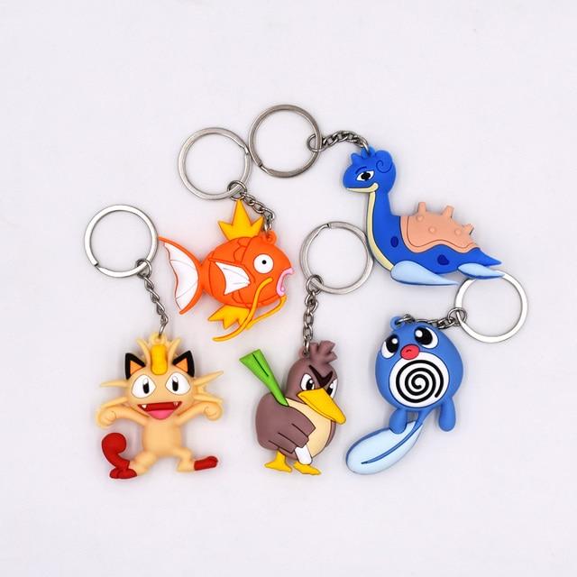 Estilo New Arrival 4-6 5 cm Pingente Keychain Dos Desenhos Animados Figuras PVC Pikachu Meowth Magikarp Poliwag Farfetch 'D Lapras chaveiros
