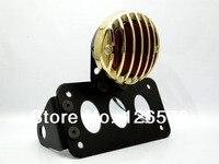 Black Brass Side Axle License Plate Mount Rodder Tail Light For Harley Bobber Custom Motorcycle